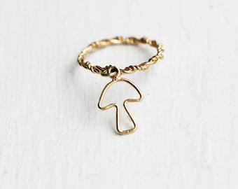 Mushroom Charm Ring, Mushroom Ring, Charm Ring, Small Gold Ring, Gold Band, Band Ring
