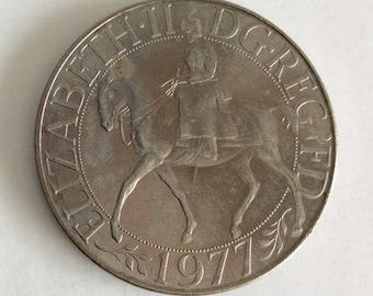 1977 Silver Jubilee Crown Coin - Queen Elizabeth II - British Coins - Commemorative Coin - Collectable Coins - Vintage Coins - Royal Mint