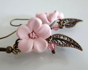 Pink Cherry Blossom Earrings - Handmade Polymer Clay Flower Earrings - Pink Flower Earrings - Pink Sakura Earrings - Pink Bridal Jewely