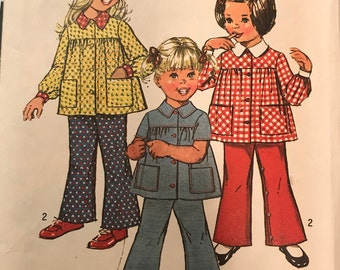 1970s Vintage Simplicity 5219 Sewing Pattern Toddler's Smock Top and Bell-Bottom Pants. Size 3