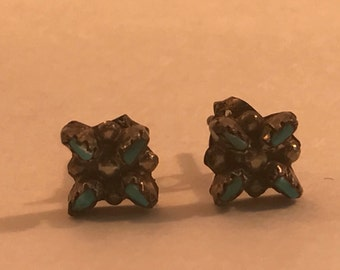 Vtg New Old Stock Sterling Zuni Needlepoint Turquoise Earrings
