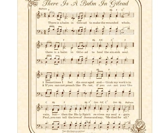 There Is A Balm In Gilead Custom Christian Home Decor VintageVerses Sheet Music Hymn Wall Art Inspirational Wall Decor Antique Hymn Art Rose