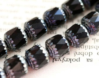 8mm Black cathedral beads picasso czech glass beads, rustic round fire polished ball beads - 15Pc - 2260