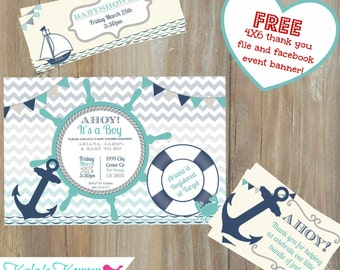 NAUTICAL BABYSHOWER INVITE - Babyshower invitation - Chevron Babyshower Invite - Self Print Babyshower Invite - Jpeg File