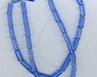 Royal Blue Tubes, 4mm x 10mm Royal Blue Glass Tube Spacer Beads - 32 Beads