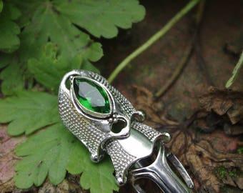 Finger armor ring with green quartz goth gothic ooak custom