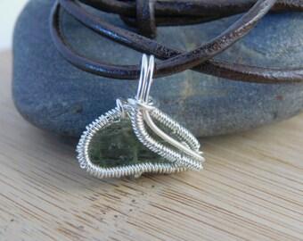 Moldavite Handmade Pendant Sterling Silver Wire Wrapped Handmade Jewelry Green Tektite Rough Scifi Pendant 3/4 inch Small Amulet Medallion