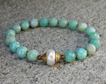 Amazonit Armband mit tibetischen Perle, Schmuck für Kommunikation, Yoga-Armband