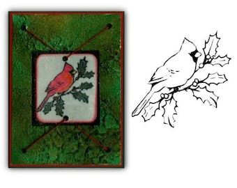 CARDINAL on HOLLY BRANCH unmounted  rubber stam, Christmas bird winter holiday, Sweet Grass Stamps No.7