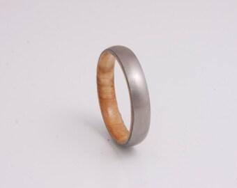 olive wood ring titanium band mens wedding wood ring engagement ring metal him her