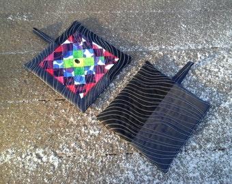Quilted potholders made from Marimekko fabric, modern Scandinavian kitchen decor, hot pads pot holders trivet,set of 2