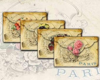 Paris Envelopes No 6 Shabby Chic Vintage Floral Fruit Envelopes Digital Paper Instant Download