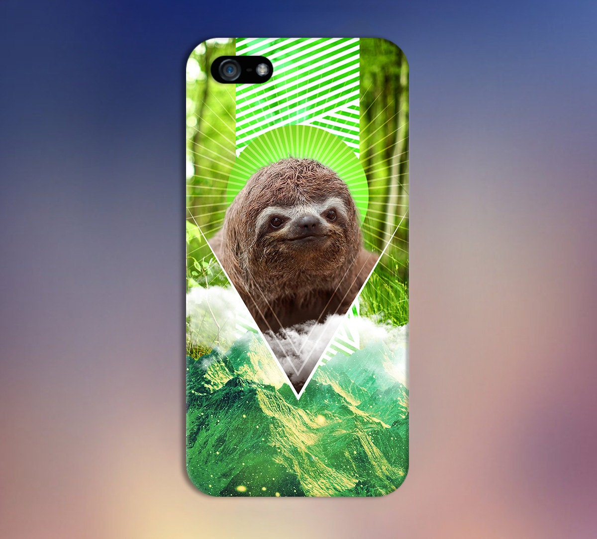 Geometric Nature Sloth x Green Mountains Phone Case for ...