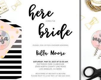 BRIDAL SHOWER PARTY Invitation {Bridal Shower} {Wedding Shower} {Black and White} {Script} {Printable}