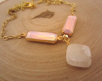 Pink and gold necklace. Iridescent gemstone necklace. Natural stone necklace. Pink gem connectors. Gold wire-wrapped stone jewelry.