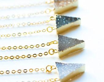 Druzy Triangle Necklace,Gold Druzy Necklace, Druzy Triangle Necklace, Small Druzy Pendant Necklace, Druzy Jewelry,Layering Necklace,Gemstone