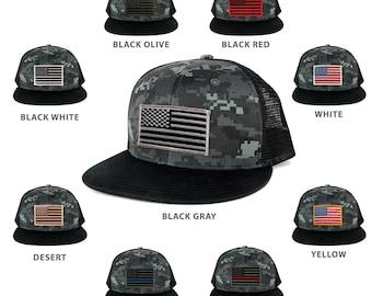 US American Flag Embroidered Patch Adjustable Flat Bill Camo Trucker Cap - BNB  (1055-BNB)