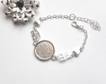 """1 support silver plated 20mm cabochon bracelet """"love"""" and heart"""