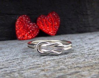Sterling Silver Love Knot Ring, Silver Knot Ring, Infinity Ring, Bridesmaid Gift, Friendship Ring, Promise Ring for Her