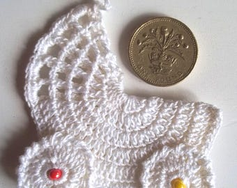 Crochet white pushchair