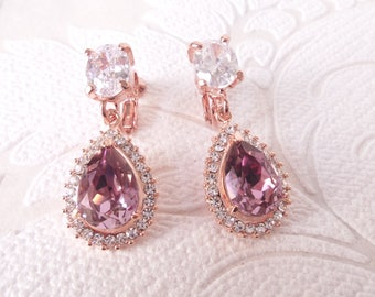 Blush Rose Gold Bridal Halo Pierced or Clipon Earrings with Swarovski Crystal for 1920s Wedding Chandeliers or Pink Victorian Prom Jewelry