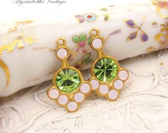 Swarovski Peridot Green & Rose Pink Opal Rhinestone Art Nouveau Brass or Antique Silver Earring Drops Dangles Charms 20mm Long - 2
