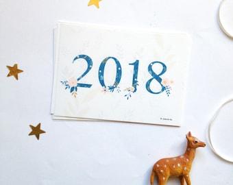 Cartes de voeux 2018, bonne année 2018, 2018 voeux, 2018 carte Meilleur voeux - lot de 8 cartes