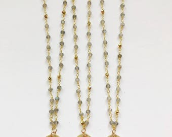 Brushed Gold Disc on Labradorite & Pyrite Beaded Chain