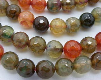 24 agate 8 mm Brown dragon agate and faceted pink beige.kaki, colorful