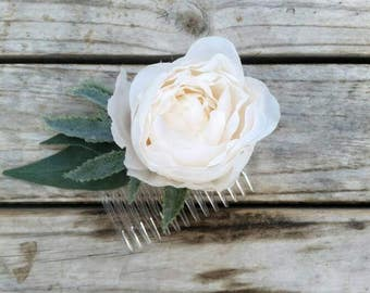 IVORY PEONY Hair Comb Silk Peonies Bridal Hair Accessory Wedding Flowers