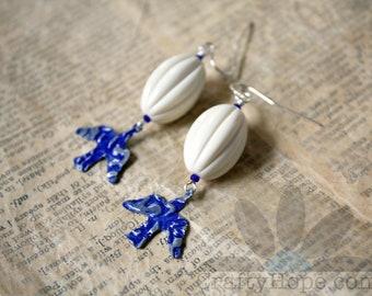 Blue Bird Earrings - vintaj flying bird blanks, vintaj patina, salvaged beads, vintage beads, seed beads, cobalt