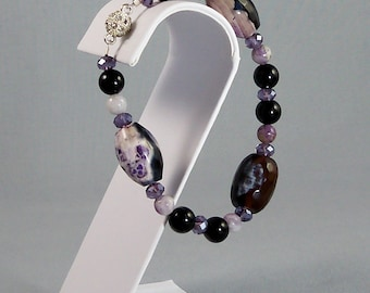 Purple Agate Bracelet with Black Onyx & Purple Crazy Lace Beads, Semiprecious Stone and Tanzanite Crystal Magnetic Clasp Jewelry