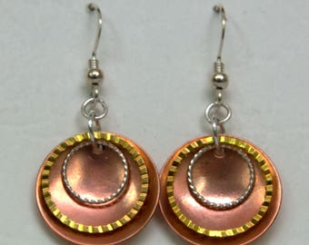 Mixed Metal Layered Earrings in Copper with Gold and Silver