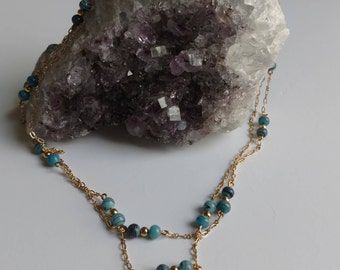 Turquoise Beaded Necklace Gold, Blue Beaded Necklace Gold, Long Turquoise Necklace, Long Beaded Necklace Gold, Beaded Blue and Gold Necklace