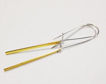 Gold Bar Earrings, Mixed Metal Earrings, Gold and Silver Earrings, Simple Modern Gold Jewelry, Minimalist Gold Bar Earrings
