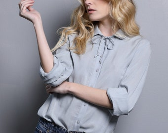Grey blouse for women, gray woman blouse, light gray long sleeve blouse, button down blouse with collar and tie ribbon