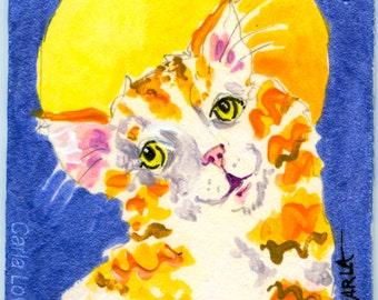 Cat Painting, Original Acrylic painting, Folk Art,  ACEO size, miniature painting, original art, cat portrait, kitty painting