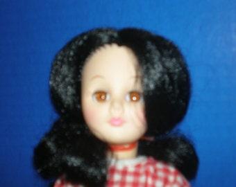 """Effanbee red/white check dress, black hair, 1978, 11"""", fair cond"""