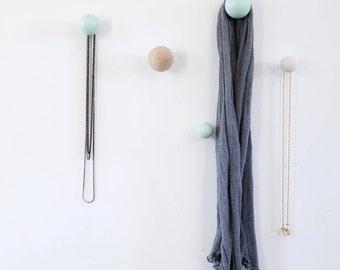 wooden wall hooks - set of 5. free shipping, wall hanging, Decorative Wall Hooks, entryway coat hooks, Scandinavian modern home decor