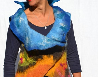 Wearable Art L XL Nuno Felted Vest Reversible Vest Provence Handmade