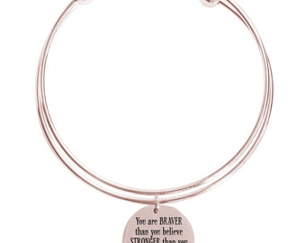 You are braver that you believe double layer bangle - DOUBLEBANGLE-YOUAREBRAVER-RGD - Rose Gold