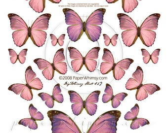 PaperWhimsy Digital Download Collage Sheet ATC ACEO Pink Butterflies Butterfly Collage Art Digisheet 057