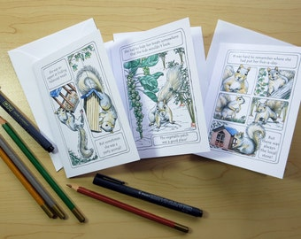 Slim-line Squirrel Birthday Cards, Set 1