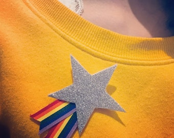 Sparkly Rainbow and Star Brooch