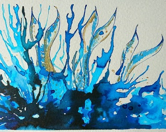 Diving into the deep, original watercolorpainting 18 x 13cm, no frame