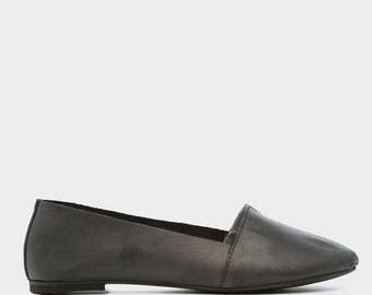Black Tomika Pointed Toe Leather Flats, Handmade Leather Flats, Women's Leather Flat Shoes, Women Slip On Flats