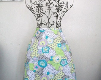 Aline Spring Lilac and Aqua Flower Skirt - One of a Kind
