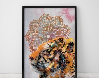 Tiger Wall Art Tiger Print Giclee Print Posters Boho Poster Boho Prints Tiger Poster Animal Poster Animal Print Posters And Prints