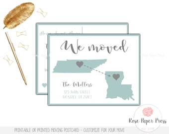 State to State Moving Postcard | Printable, Printed Postcard | Moving Cards, New Home Postcard | Moving Announcement, New Address | We Moved