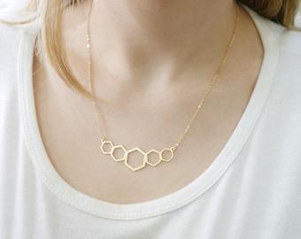 Gold geometric necklace. Geometric gold necklace. Gold necklace. geometric honeycomb .Gold  necklace. Gold jewelry. Geometric jewelry